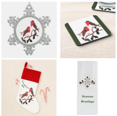 Christmas ornament, coaster, gift bag and Christmas stocking with robins and holly