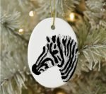 Hanging ornament with zebra artwork
