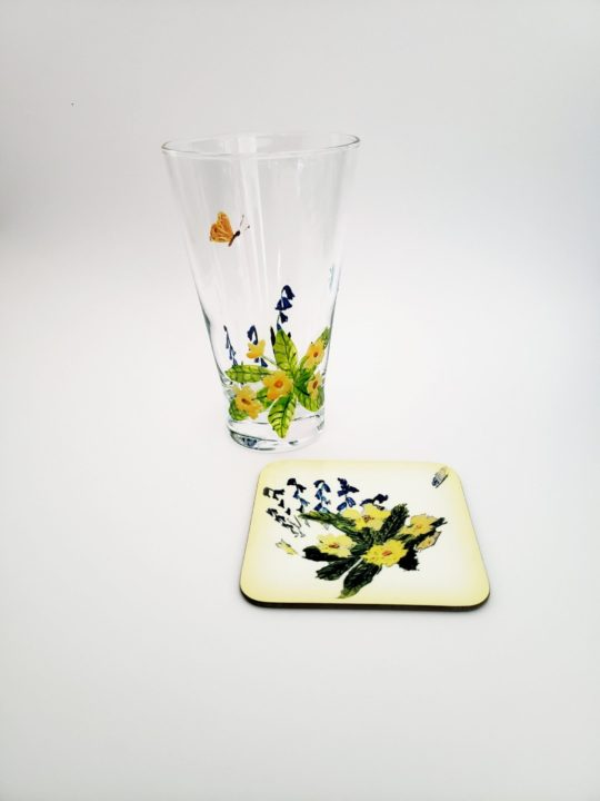 Spring Glass and coaster set with primroses, bluebells and butterfly