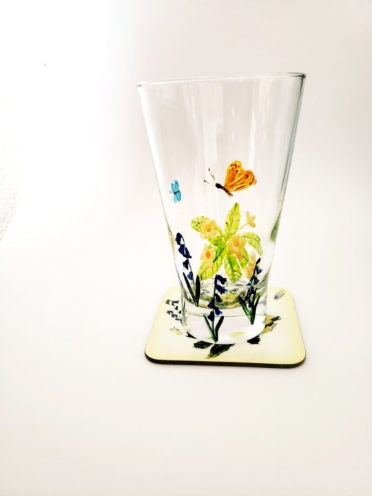 Primrose Butterfly Original Glass Painting with a coaster