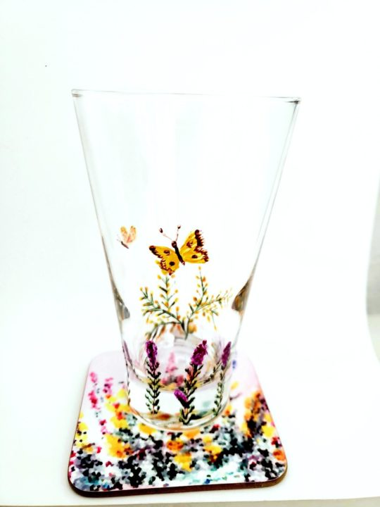 Glass and coaster set with butterflies, heather and gorse