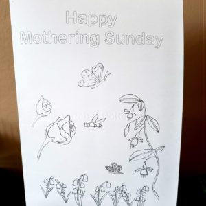 Mothering Sunday card, digital download to colour in