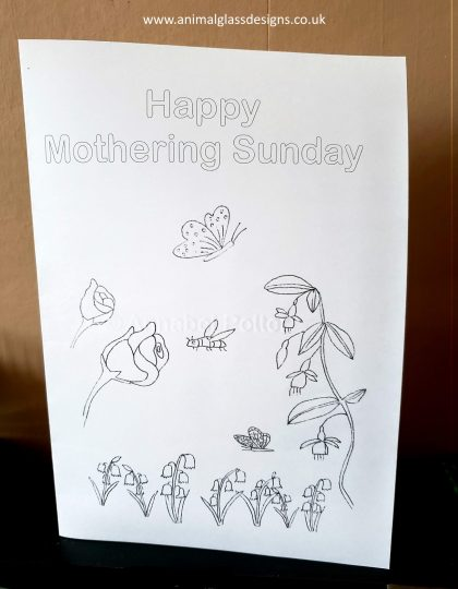 Mother's Day Mothering Sunday card, digital download to colour in.