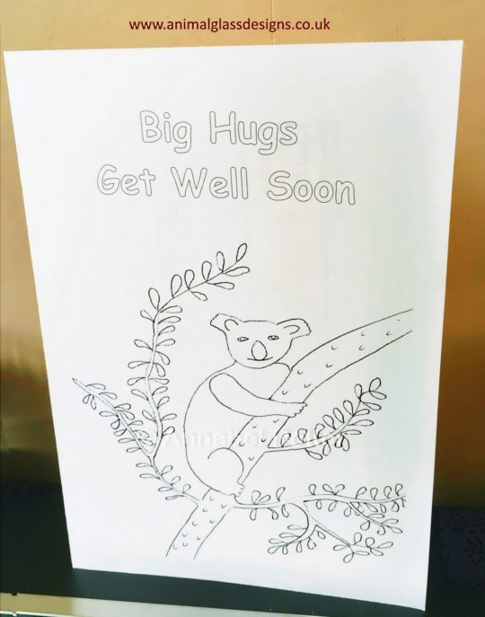 Big Hugs Get Well Soon card with a Koala Bear in a tree