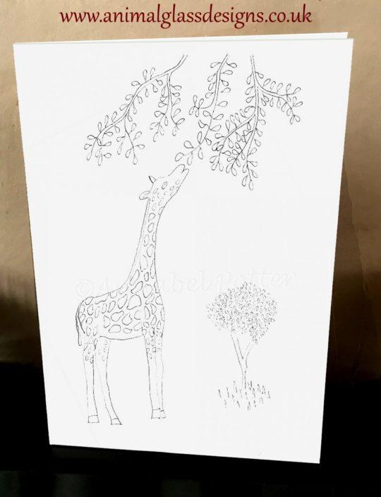 Photo of a giraffe colouring card