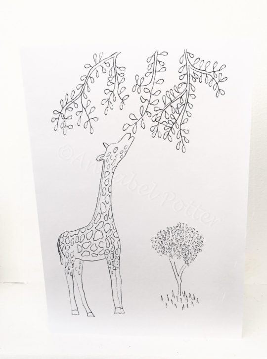 Colouring-in card with a giraffe eating leaves