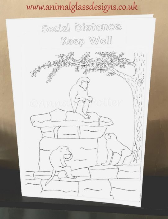 Monkey colouring card with a social distancing message