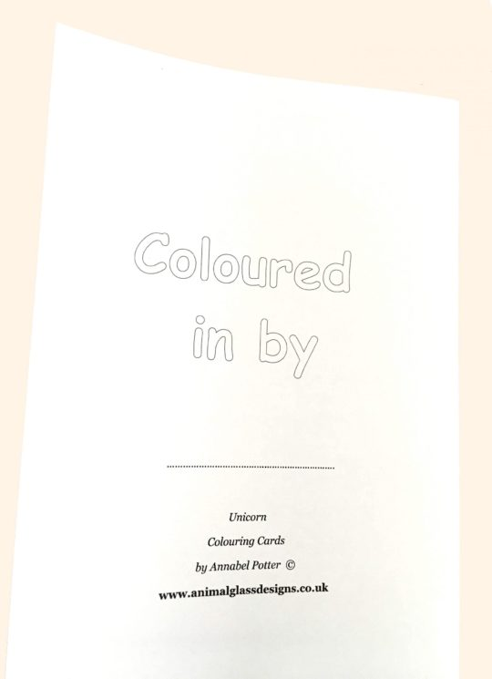 Photo of the back of a colouring card