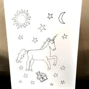 Photo of a unicorn card with sun, stars and moon, to colour in