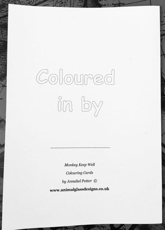 Photo of a monkey colouring card back