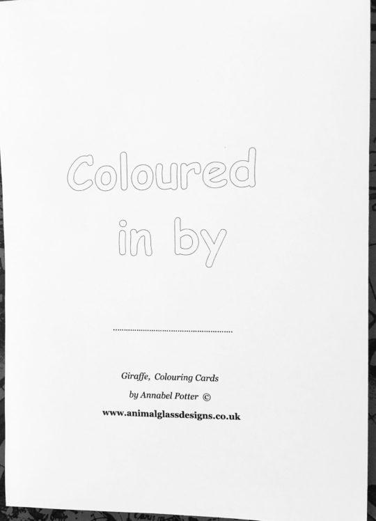 Photo of a colouring giraffe card back