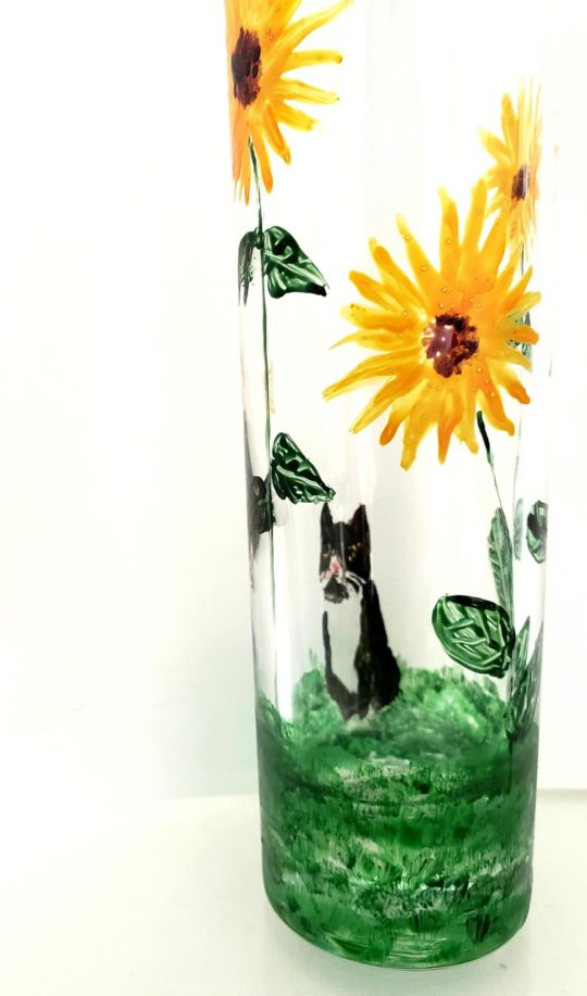Sunflower bud vase glass painting with a cat