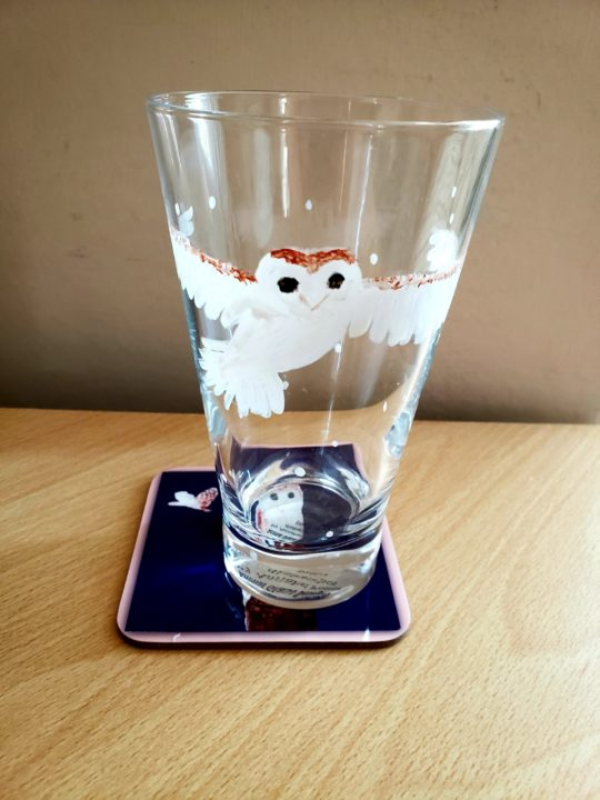 Gift set with a hand painted barn owl glass and owl coaster