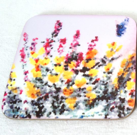 Coaster with Dartmoor inspired art of heather and gorse