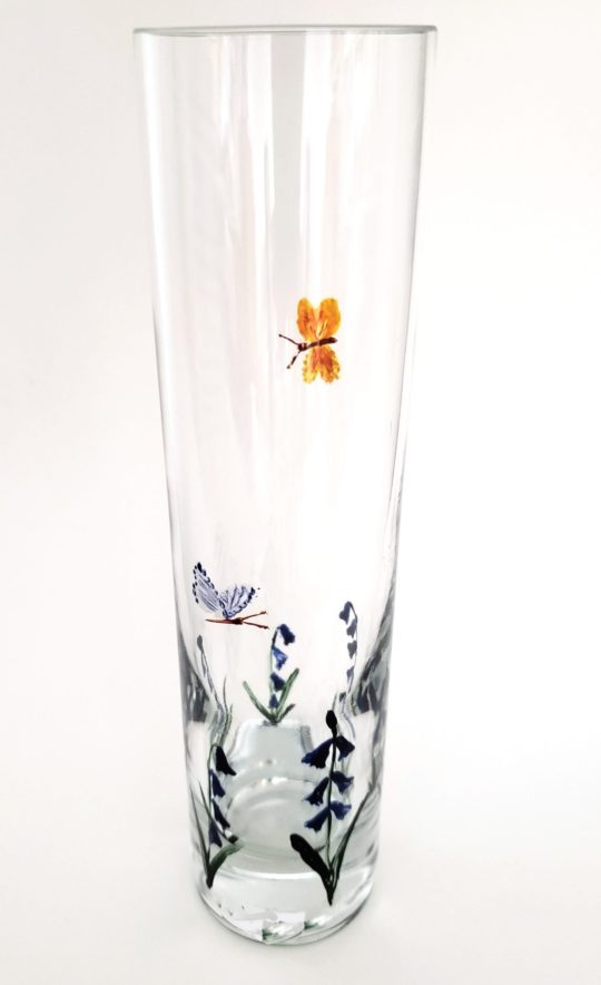 Bluebell butterfly bud vase hand painted