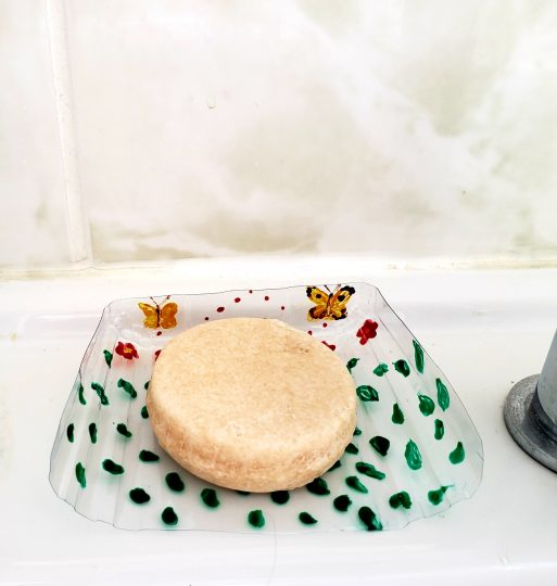 recycled soap dish with original glass painting of two butterflies, red flowers and green leaves pattern