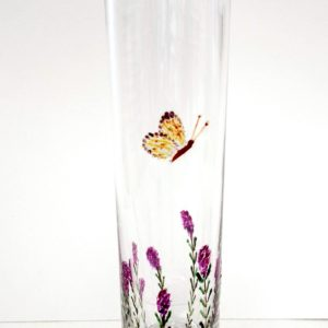 Bud vase hand painted with heather and butterflies