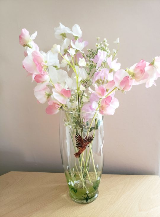 Hand painted vase with snowdrops and a buzzard