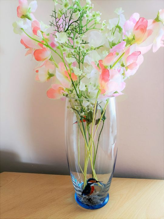 vase with kingfisher glass paintings, photographed with flowers