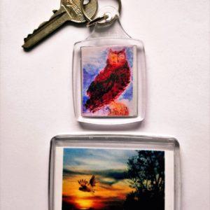 Owl key ring and fridge magnet set