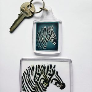 Wild animal small gift set with a keyring and fridge magnet with zebra art