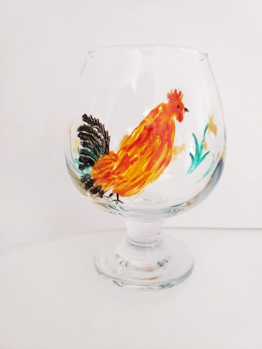 Chicken wine glass original glass painting with view of Cockeral